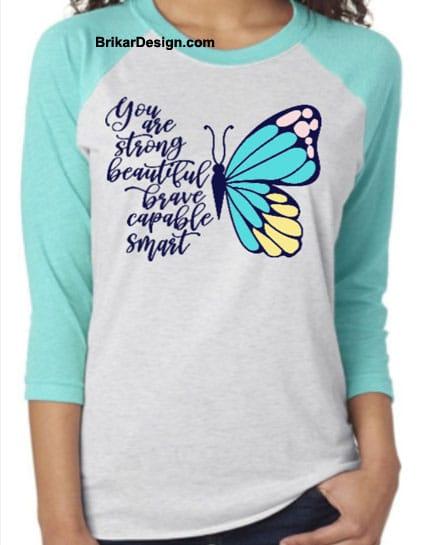 Chandail unisexe manche raglan butterfly